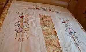 Шторы винтажные тонкий лен с ручной вышивкой