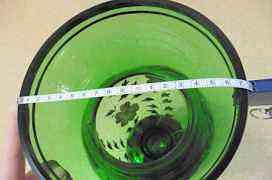 Высокая ваза зеленая Богемия