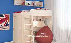 Кровать - чердак со шкафом