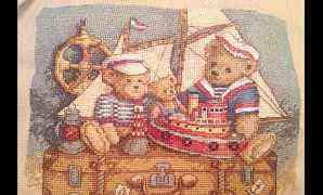 Готовая работа - Мишки Тедди вышивка крестом