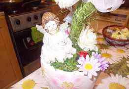 Топиарий счастья в цветочном горшочке с ангелочком