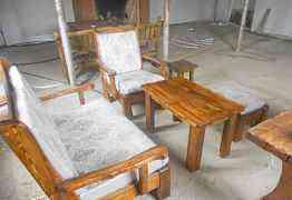 Комплект - стол, диван, кресло, пуфик