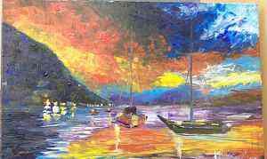 """картину под названием """"Багровый закат"""""""