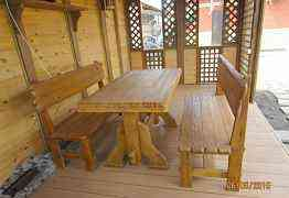 Стол и две лавки из дерева для беседки под старину