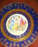 Тарелки Мадонна кобальт золото 19 век Австрия