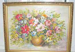 Картина написана маслом на оргалите Цветы