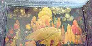 Картина-пейзаж Палех 60-е годы, рамка, лак