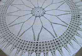 Старинная круглая Cкатерть вязаная кружево 1.90 см