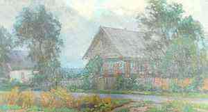 Картина Деревенское утро, 55х33, холст, масло